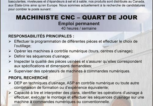 MACHINISTE CNC – QUART DE JOUR