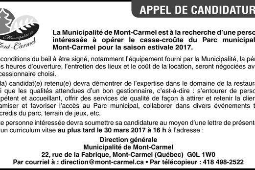 Personne pour opérer le casse-croûte du Parc municipal de Mont-Carmel