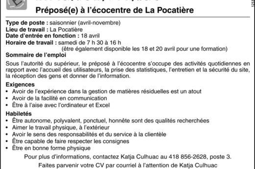Préposé(e) à l'écocentre de La Pocatière