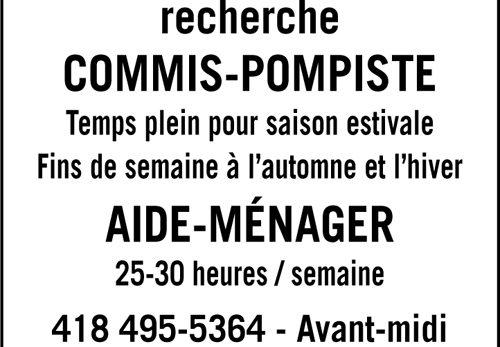 COMMIS-POMPISTE et AIDE-MÉNAGER